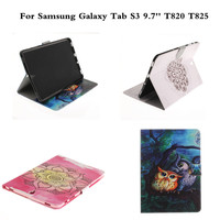 OWI Flower Cat Cute Cartoon PU Leather Case For Sasmung Galaxy Tab S3 9 7 Inch