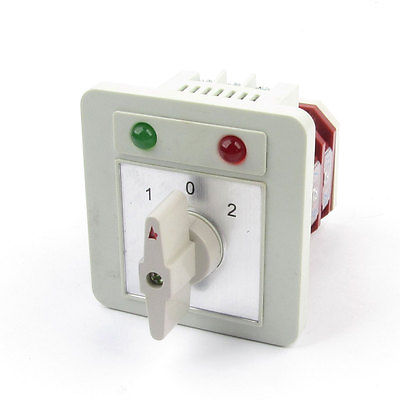Ui 500V Ith 16A 3 Position Changeover Rotary Cam Switch w LED Indicator Lamps ith 20a 8 screw terminals rotary combination cam switch