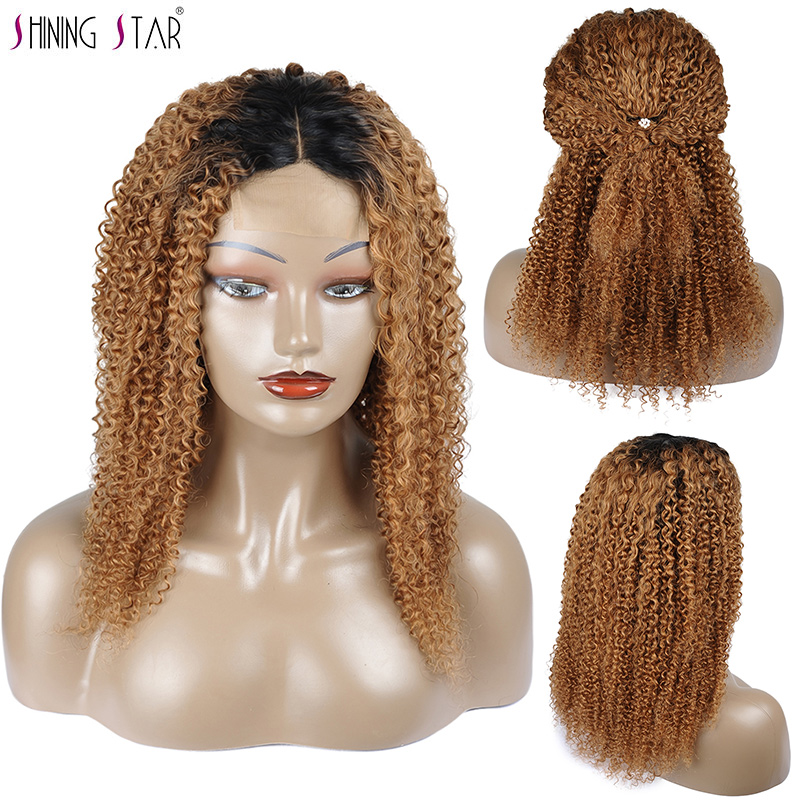 Shining Star Short Brazilian Curly Lace Front Wig Human Hair Blonde Ombre 1B 30 Colored Wigs For Black Women 4*4 Closure Nonremy