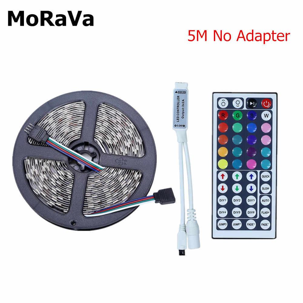 44Key Music 5050 RGB LED قطاع 12 فولت 150 المصابيح غير مقاوم للماء مرنة RGB حبل ضوء + 44Key الموسيقى IR LED تحكم لا محول الطاقة