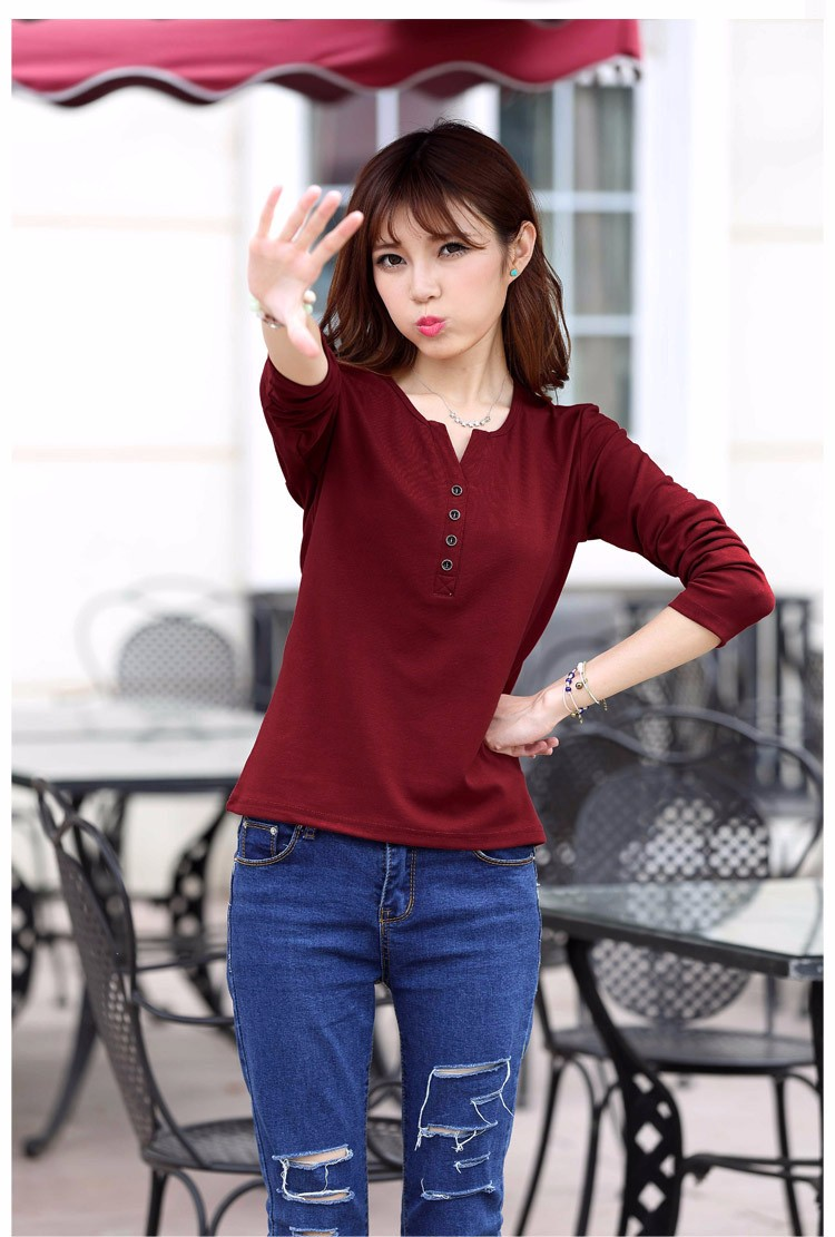 2016 New Plus Size 4XL Tops Women Spring Autumn Tshirt Casual Tees Fashion V Neck Long Sleeve Cotton T Shirts Solid Blusas A519 f