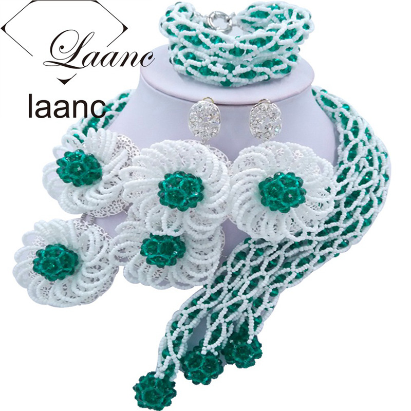 Laanc Fashion Army Green and White African Beads Bridal Jewelry Sets for Women Flower Nigerian Wedding Necklace FBFE014Laanc Fashion Army Green and White African Beads Bridal Jewelry Sets for Women Flower Nigerian Wedding Necklace FBFE014