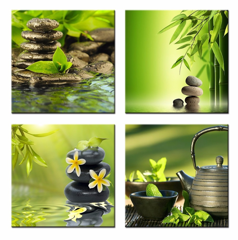 Green Bamboo Zen Stone Home Decoration Canvas Wall Art Painting Bathroom  Picture Green Bamboo Zen Stone Scene Painting