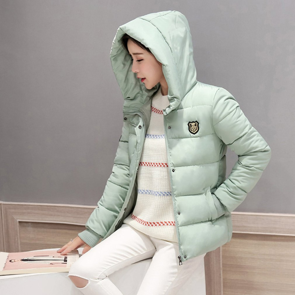 New Stylish Women Short Coat Cotton Hooded   Parkas   Padded Thick Warm Jackets with Zipper Type All-match Winter Outerwear Clothes