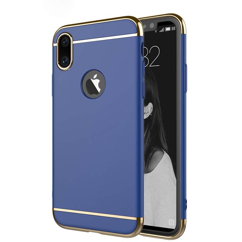 Matte Plating Case For Apple iPhone X 5.8 Protective Sleeve 3-in-1 Hard Phone Shell With Logo Hole Black Blue Gold Cover Fundas
