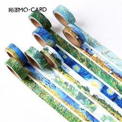 1 pçs washi fitas diy van gogh pintura de papel fita adesiva decorativa fitas adesivas scrapbooking adesivos tamanho 15 mm * 7m