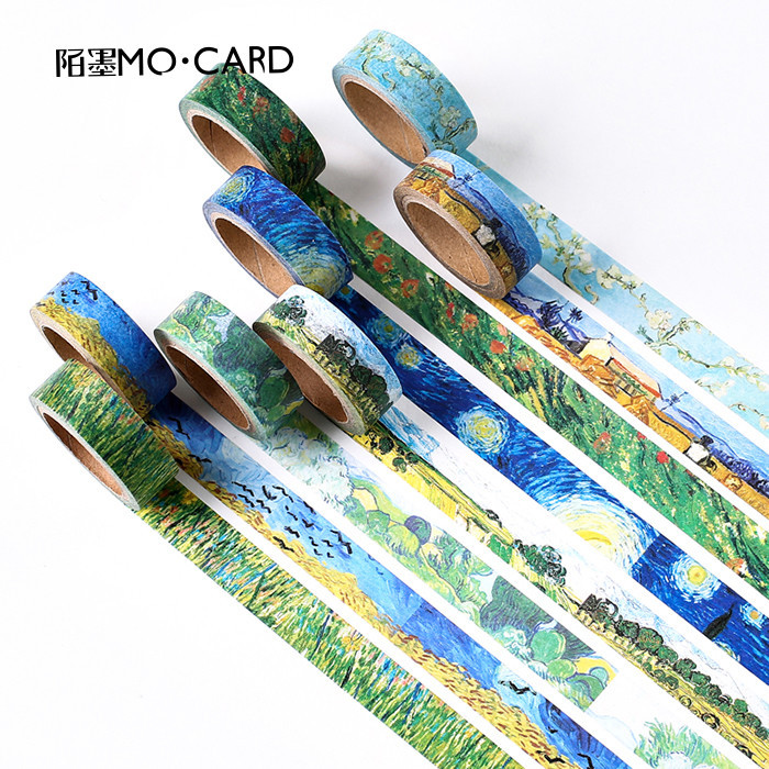 lepicí pásky s van goghem - 1 pcs Washi Tapes DIY Van Gogh Painting paper Masking tape Decorative Adhesive Tapes Scrapbooking Stickers Size 15 mm*7m