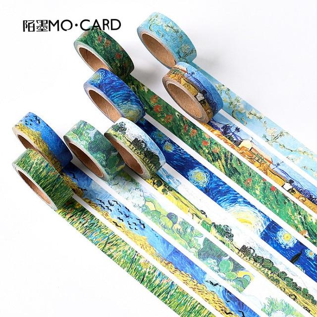 1 piezas Washi cintas de Van Gogh pintura cinta adhesiva de papel adhesivo decorativo cintas Scrapbooking pegatinas tamaño 15mm * 7 m