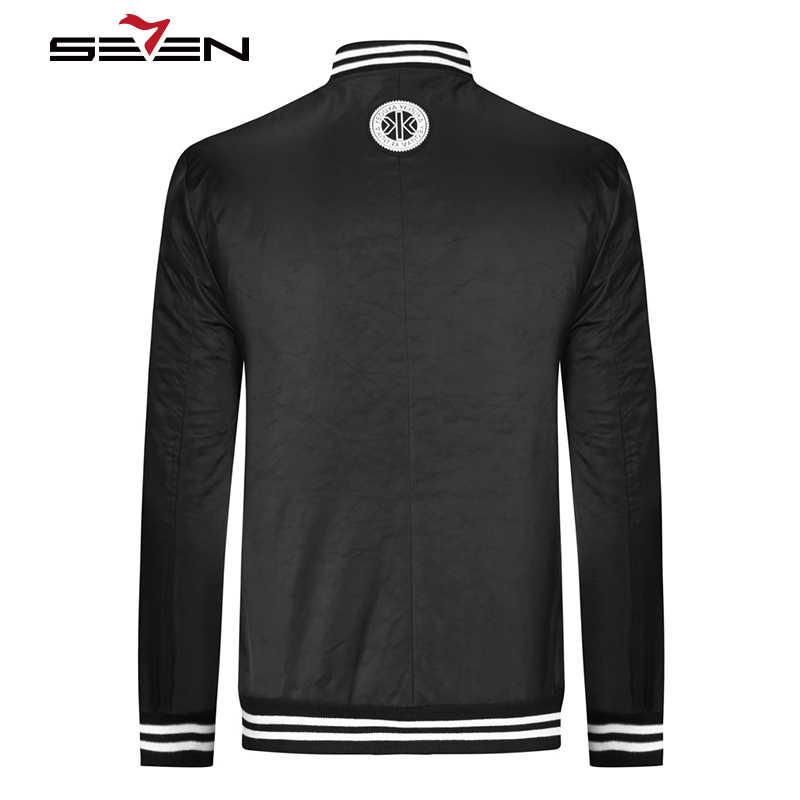 Seven7 marki Hip Hop kurtka na co dzień mężczyźni moda Streetwear list projekt zimowy zamek błyskawiczny stanąć kołnierz kurtki i płaszcze topy 113K28470