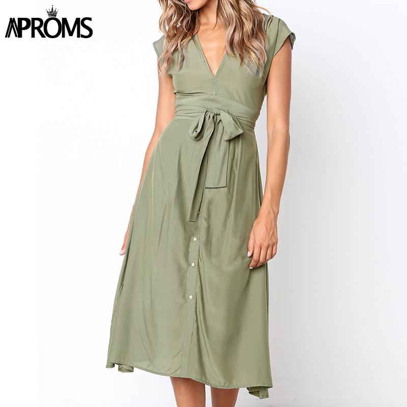 Aproms Vintage Stripe Print Midi Dress Women Elegant Deep V Sash Tie Up Bodycon Dresses Female Summer Streetwear Sundresses 19 10