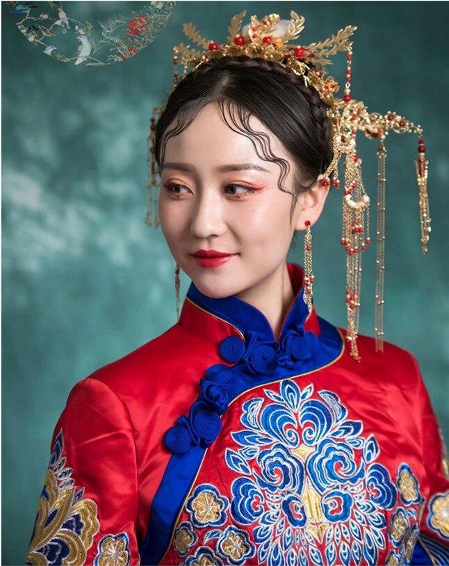 Bridal Jewelry Sets Chinese Bride jewelry Red Phoenix coronet