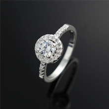 Top quality silver wedding rings with zircon women jewelry luxury romantic gift hot Cheap wholesale