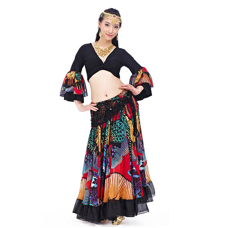720 Degrees Tribal Belly Dance Performance Women Outfit 2 Pieces Set Top and Skirt Butterfly Pattern Full Circle Gypsy Costumes-in Belly Dancing from Novelty & Special Use    3