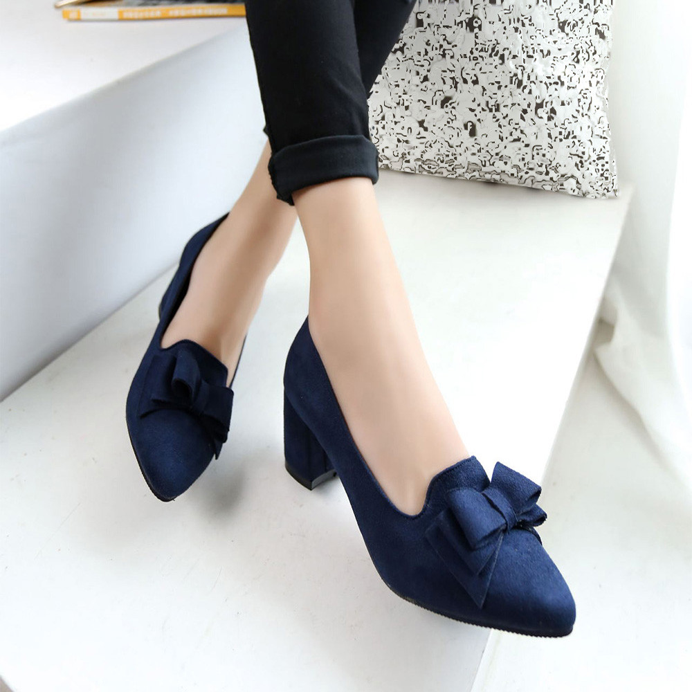 Women Pumps Shoes Bowtie Suede-Block Bowknot High-Heels Candy-Color Thick