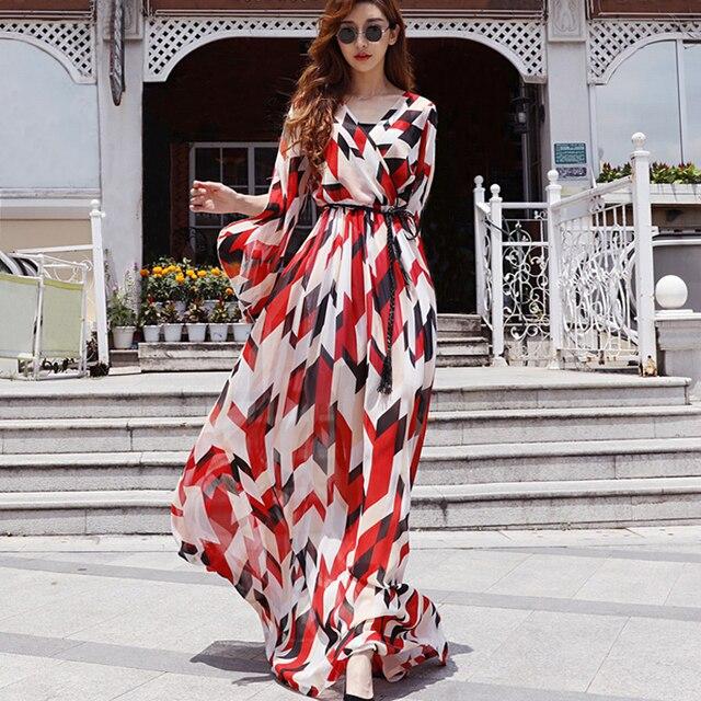 Nouveaux produits 9690f 50e90 2019 grande taille mode femmes d'été en mousseline de soie maxi robe plage  col v élégante longue bohème manches boho soirée