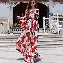 Women Summer Chiffon Print Floral Floor Length Beach Dress Long Maxi Vestidos Boho Elegant Bohemian Sleeve Plus Size Party