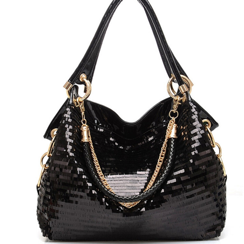 Fashion women bag Leather Sequins Women Handbags Shiny Ladies Handbag Chain Shoulder Bags Brand Designer Totes female purse 2019
