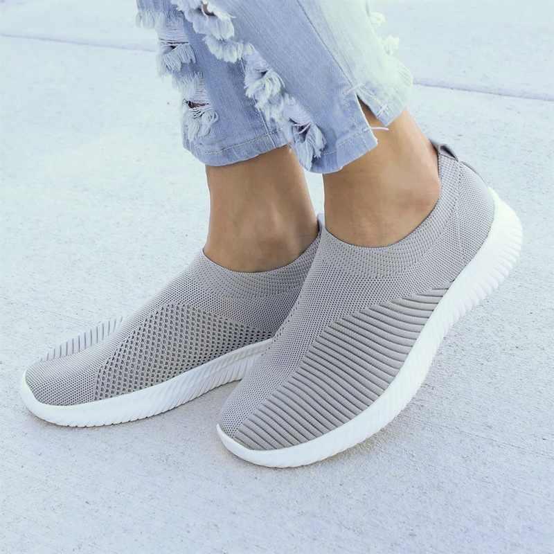 MoneRffi לנשימה אוויר רשת סתיו 2019 שטוח העקב נעלי ספורט נשים מקרית להחליק על למתוח סרוג גרב פלטפורמת נעלי אישה דירות