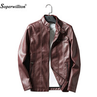 2017 Soperwillton Mens Casual Autumn Winter Fake Fur Inner Plus Size Faux PU Leather Jacket Male