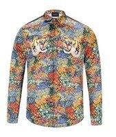 High New 19ss Men Digital 3D leopard Tiger Fashion Cotton Casual Shirts Shirt high quality Pocket Long sleeves Top S 2XL #D6