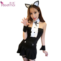 Feeetmoi Cat Girl Uniform Sexy Lingerie Set With Stockings Strapless Erotic Lingerie For Women Cat Ears
