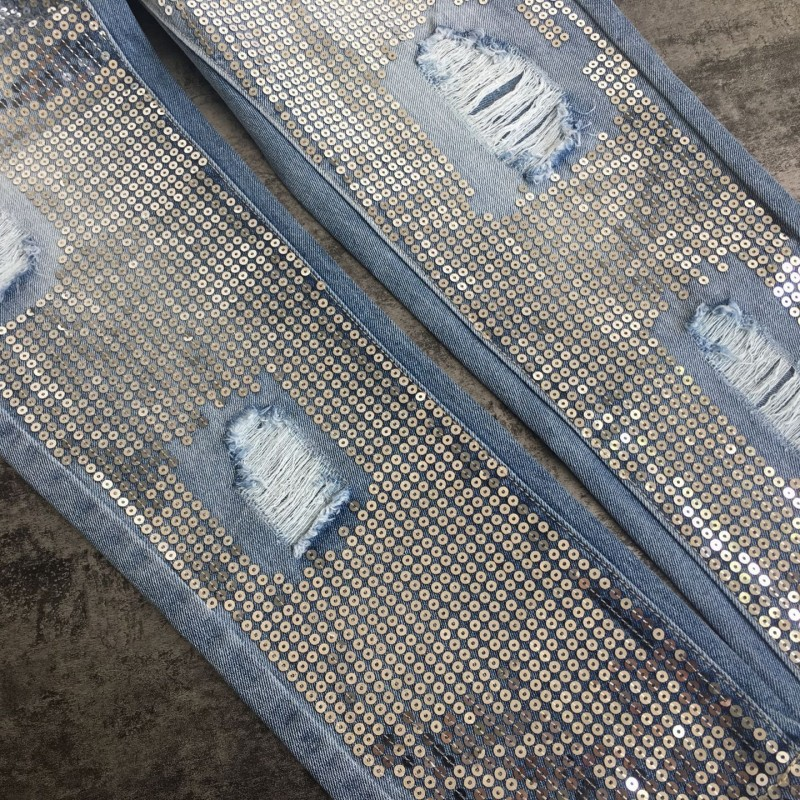 Lentejuelas Suelto Fondo Mujer Agujero Primavera Denim Streetwear Blue Cremallera Pantalones 2019 Bolso Novio Vaqueros Mujeres 4Prnqxw4f