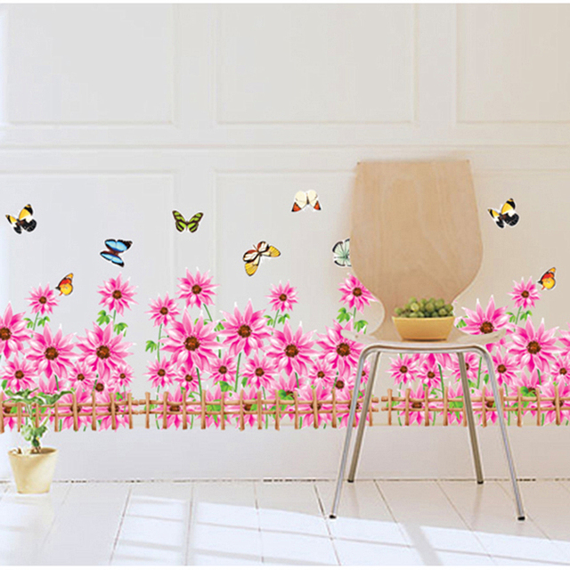 colorful flowers fence butterflies wall decals living room ...