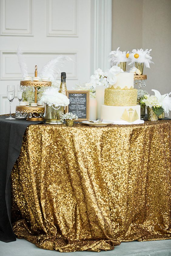 Aliexpress 132in Round Sparkly Gold Sequin Table Cloth Cake Tablecloths Linens For Wedding Birthday Party From