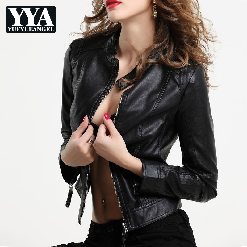 Sexy   Leather   Jacket Women Faux   Leather   Biker Jacket   Suede   Autumn Fashion Moto Black Coat Female Slim Zipper PU Overcoat Outwear