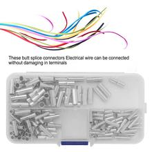 150 Piece Bare Non Insulated Butt Connector Splice Wire Terminal Kit led strip connector konektor 50pcs crimping type non insulated pipe bare terminal connector for 18awg wire page 3