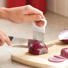 1Pcs Onion Cutter Aid Stainless Steel Vegetable Slicer Holder Kitchen Gadgets Potato Cutter Aid Guide Convenient Cooking Tool(China)