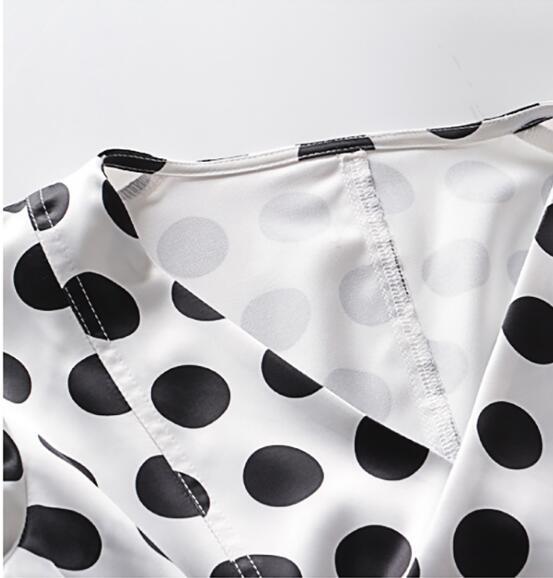 2019 nouveau printemps col en V à manches longues lanterne blanc point imprimé lâche Bandage chemise femmes Blouse mode marée - 6