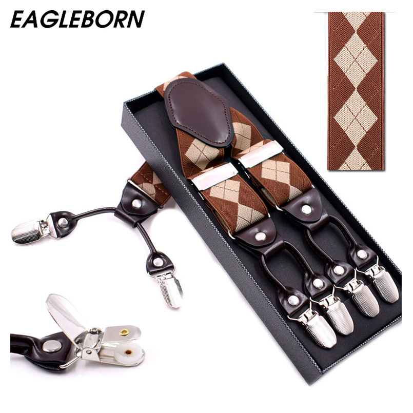 Fashion Suspenders leather alloy 6 clips Braces Male Vintage Casual suspensorio Trousers Strap Father/Husbands Gift 3.5*120cm