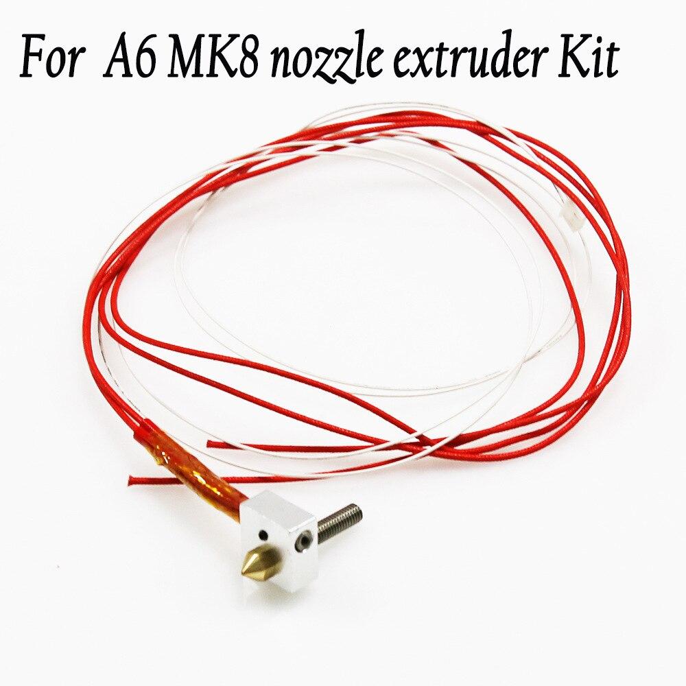 Anet for A2 A6 MK8 nozzle hotend extruder I3 head kits 0.2 0.3 0.4 0.5mm nozzles 40mm throat DIY 3d printer parts Accessories