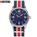 Nova Curren Relógios Homens Top Marca De Luxo Mens relógios de Pulso Cinta de Nylon Populares Esportes de Quartzo dos homens Relógios relogio masculino 8195