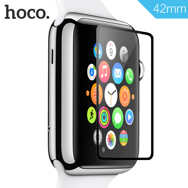 HOCO for iWatch Tempered Glass Film for Apple Watch 38mm 42mm Toughened Film Full Cover Black Edge Screen Protector Film