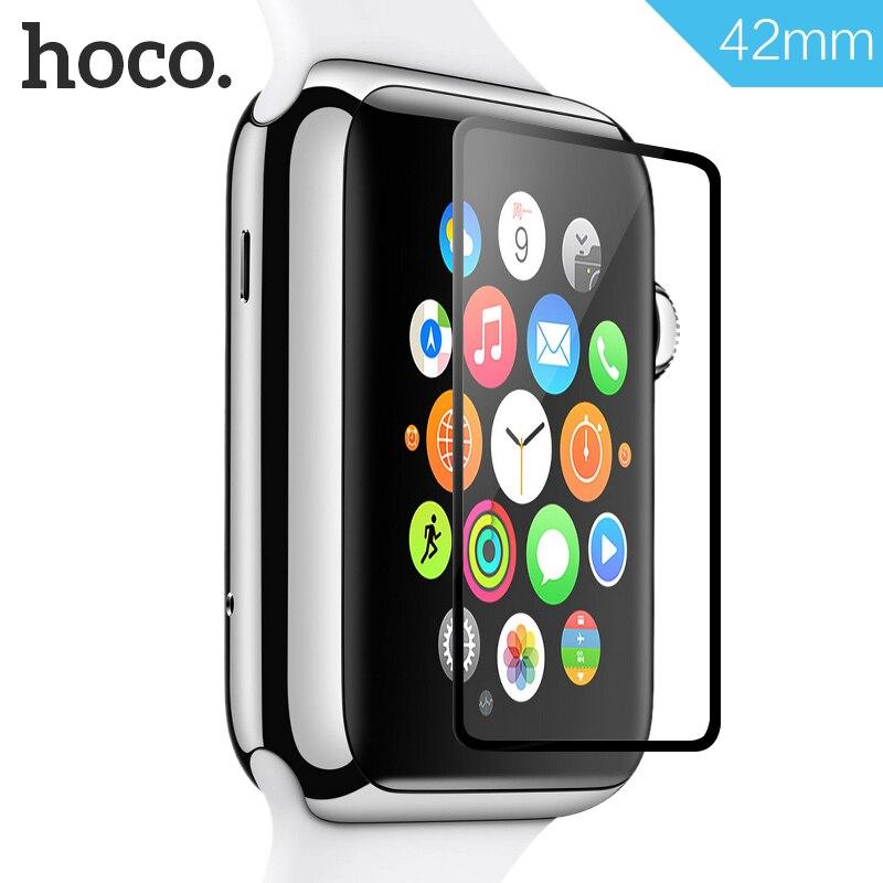 HOCO para iWatch película de vidrio templado para Apple Watch 38mm 42mm Toughened película cubierta completa borde negro pantalla película