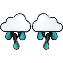 Japanese and Korean simple earrings stylish design clouds blue drops small earrings