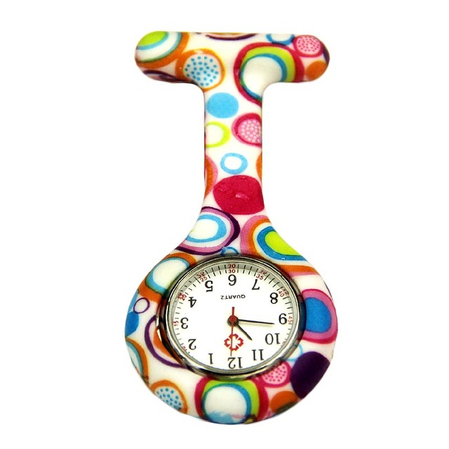 Unique style quartz watch women men Colored Circles Nurse Clip-on Hanging Pocket