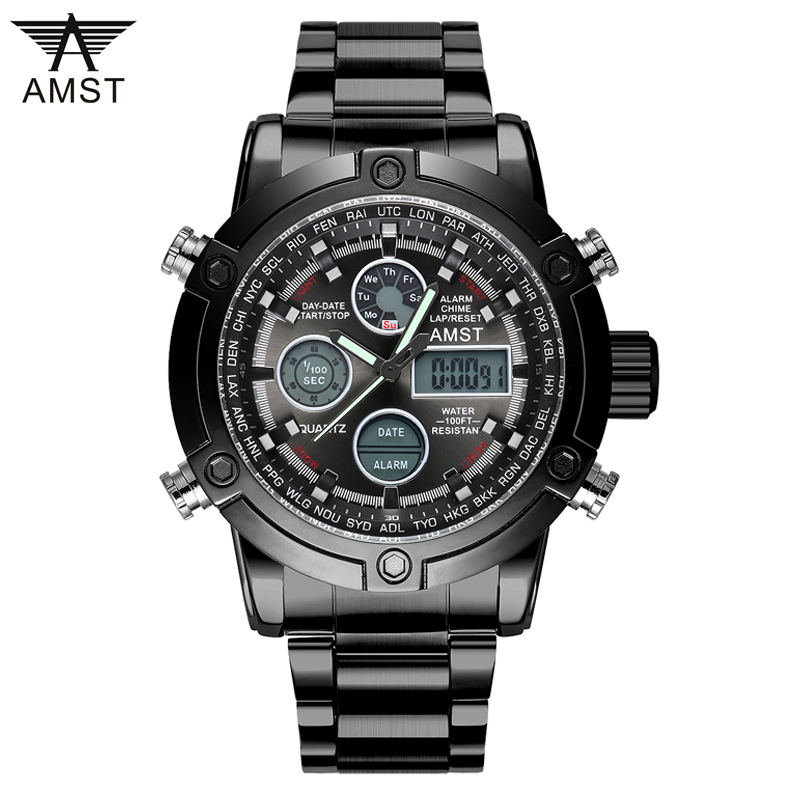 3022 Dual Display Wristwatches Watches Sports Military 50M Waterproof