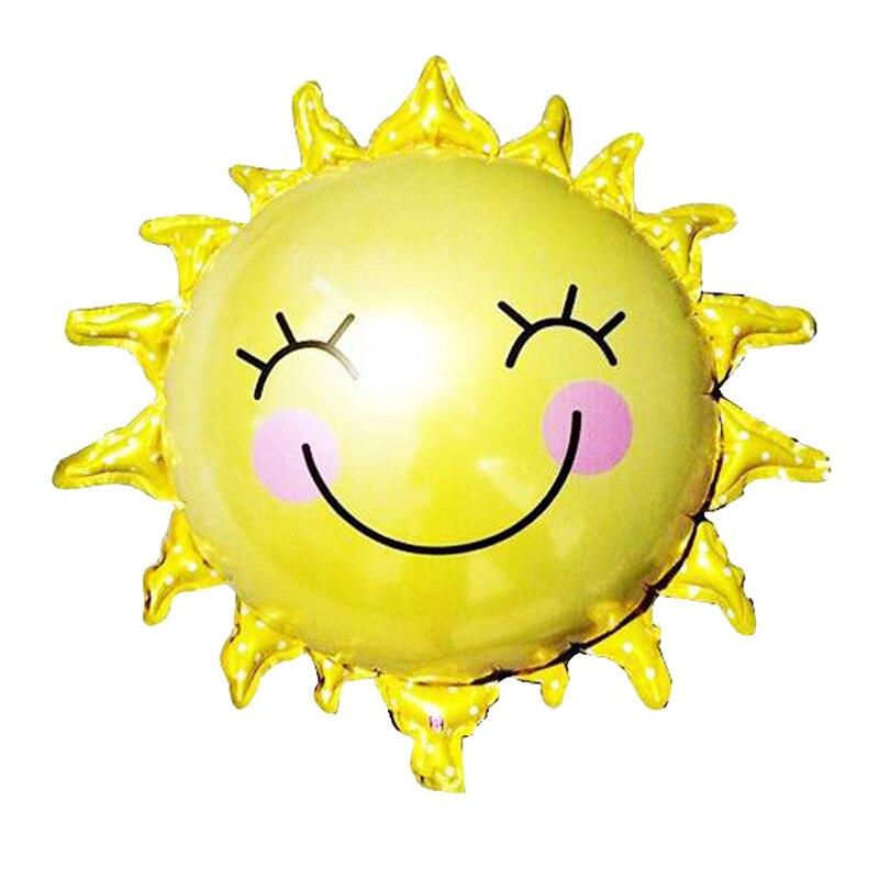 1 шт. 65 см мультфильм желтый улыбка Защита от солнца цветок Фольга шар Алюминий шаре детей Baby Shower День рождения Спальня украшения
