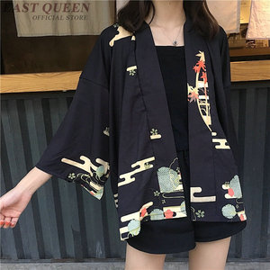 Image 2 - קימונו אישה 2019 יפני קימונו קרדיגן קוספליי חולצה חולצה לנשים יפני יאקאטה נשי קיץ חוף קימונו FF1127