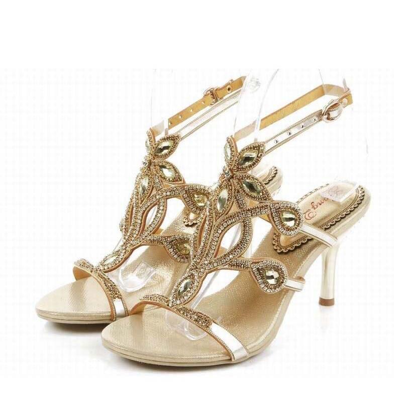 2016 new fashion gladiator rome high heels sandals bling bling crystal luxury rhinestone buckle summer women wedding shoes 34-44