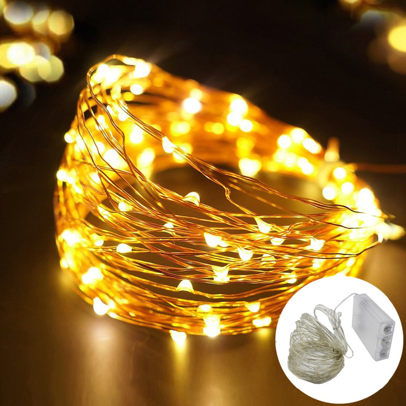 Outdoor Lighting 2m 3m 5m 10m 100 50 30 Led Strings Silver Wire 3xaa Battery Operated Christmas Wedding Party Decoration Led String Fairy Lights Up-To-Date Styling