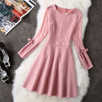 Europe 2018 Autumn Spring Women S Clothes Big Size XXL Long Sleeved Deer Leather Lace Mini