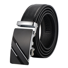 Free shipping black leather belt  Cowhide Genuine Leather Belts For Men Automatic Ratchet Buckle belts