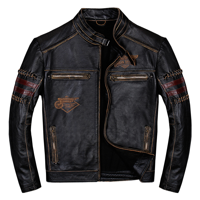 2019 Vintage noir hommes véritable veste en cuir de motard grande taille XXXL peau de vache Slim Fit moto en cuir manteau livraison gratuite