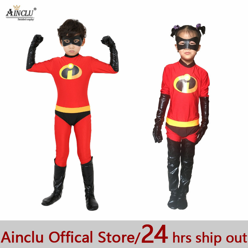 Ainclu 24hrs Ship The Incredibles Cosplay Costume for Boys Girls Lycra Spandex Bodysuit Second Skin Suit Child Cosplay Costumes