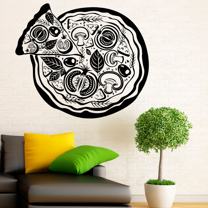 Creative Pizza Art Vinyl Wall Decals Home Decoration For Dining Room Kitchen Wall Stickers Removable