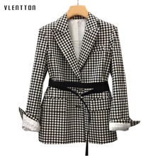 High Quality Plaid Office Blazer Women Single Breasted Sashes Women's Jackets Blazer Spring Autumn Long Sleeve Blazers Female цена 2017